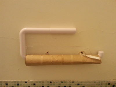 Or maybe this bullshit should have been my first clue. The replacement rolls are less than four feet away. You have to pass them as you leave the bathroom.